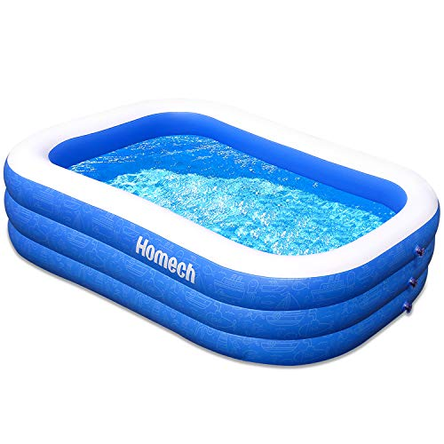 Homech Family Inflatable Swimming Pool, 93'x 58' x 22'Full-Sized Inflatable Lounge Pool for Baby, Kiddie, Kids, Adult, Infant, Toddlers for Ages 3+,Outdoor, Garden, Backyard, Summer Water Party