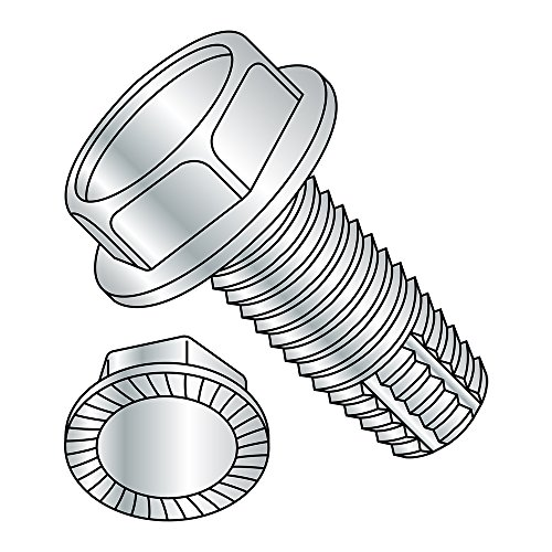 Steel Thread Cutting Screw, Zinc Plated Finish, Serrated Hex Washer Head, Type F, 1/4'-20 Thread Size, 1/2' Length (Pack of 50)