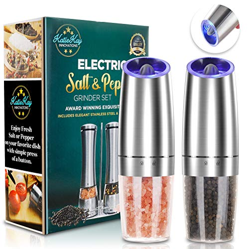 JOBKIM Gravity Electric Grinder set of 2, Automatic Pepper and Salt Mill Grinder, Battery Powered, Adjustable Roughness, Blue LED Light, Stainless Steel with One Hand Operation