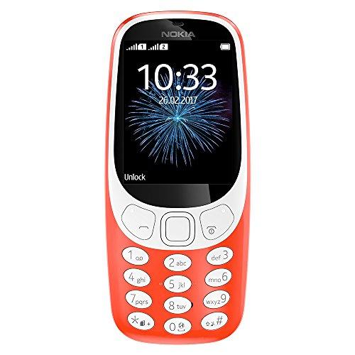 Nokia 3310 3G - Unlocked Single SIM Feature Phone (AT&T/T-Mobile/MetroPCS/Cricket/Mint) - 2.4' Screen - Warm Red - U.S. Warranty
