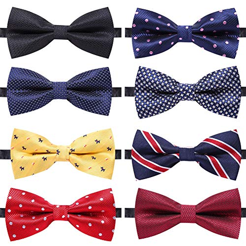 AUSKY 8 PACKS Elegant Adjustable Pre-tied bow ties for Men Boys in Mixed Color