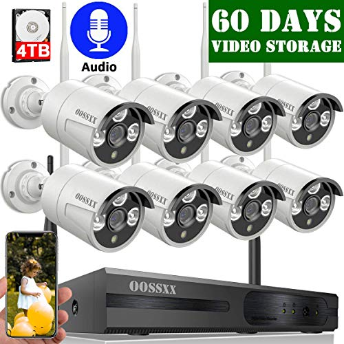 2020 Update OOSSXX 8-Channel HD 1080P Outdoor Wireless Security Camera System,8Pcs 1080P Wireless Indoor/Outdoor IR Bullet IP Cameras,P2P,App, HDMI Cord & 4TB Hard Drive Pre-Install