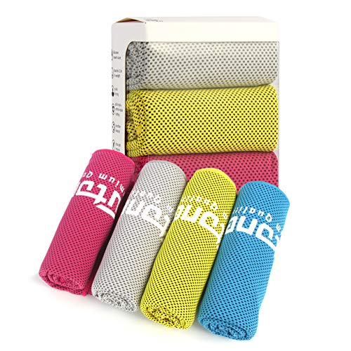 Futone Cooling Towel, Gym Towels, Sweat Workout Towels, Cooling Towels for Neck, Compact Sports Towels for Men Women, 40' x 12,' 4 PCS (Red, Blue, Yellow, Gray)