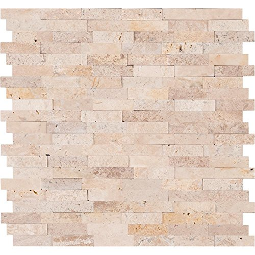 Peel & Stick Ivory Travertine Honed and Split Face Mix Brick Pattern Mosaics for Kitchen Backsplash & Wall Tile (5)