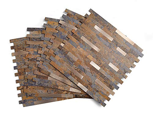 Peel and Stick Tile Backsplash, PVC Rusty Slate Backsplash Stone Tile Peel and Stick, 5 Tiles (4.67 sq.ft)