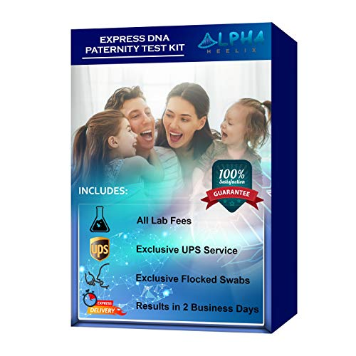 Express DNA Paternity Test Kit (At Home) - Highly Exclusive UPS Overnight Shipping to Lab, Video Demonstration, Premium Flocked Swabs and All Lab Fees Included - Confidential Report in 2 Business Days