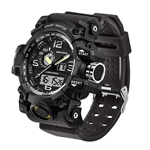 Mens Military Watch, Dual-Display Waterproof Sports Digital Watch Big Wrist for Men with Alarm (Black)