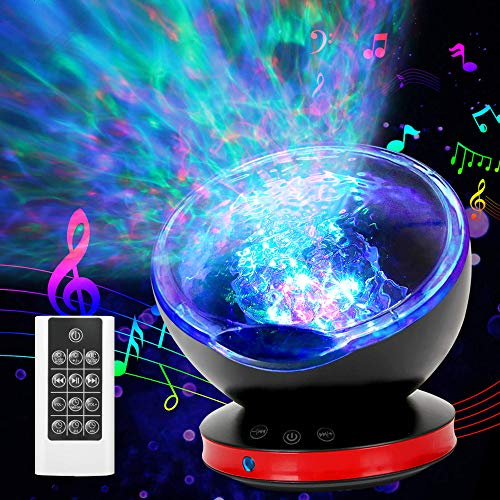 [New Version]Ocean Wave Projector 12 LED Remote Control Undersea Projector Lamp, 8 Color Changing Music Player LED Night Light Projector for Kids Adult Bedroom Living Room Decoration (Black)