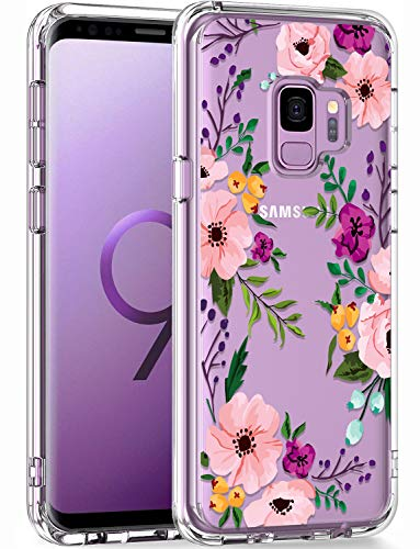 LUHOURI Samsung Galaxy S9 Case Clear with Design for Girls Women,Shockproof Hard PC Back Cover and Soft TPU Bumper Slim Fit Protective Phone Case for Galaxy S9 5.8 inch 2018 Pink Blossoms