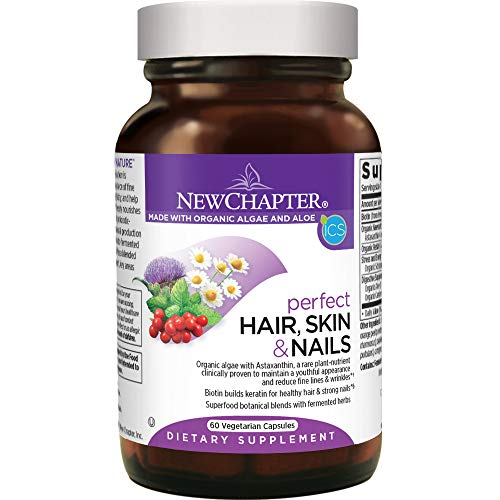 New Chapter Hair Skin & Nails Vitamins with Fermented Biotin + astaxanthin - 60 Ct Vegetarian Capsule (Packaging May Vary)