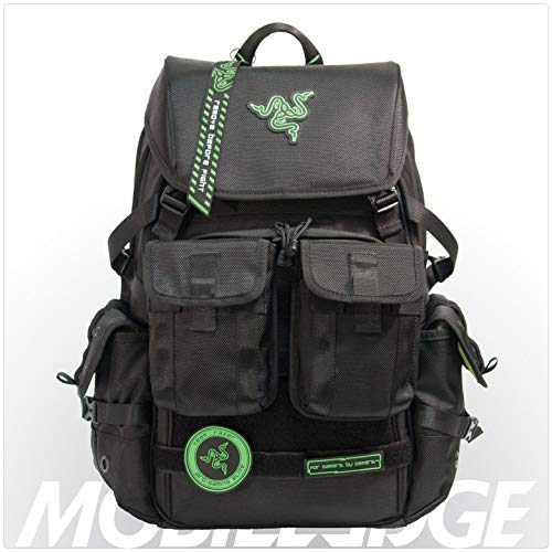 Mobile Edge Razer Tactical Pro 17 Inch Laptop Gaming Backpack, Black, Rugged Ballistic Material, Padded Laptop Section, Molle Pocket Front, Water-resistant, Hideaway Rain Cover, RAZERBP17