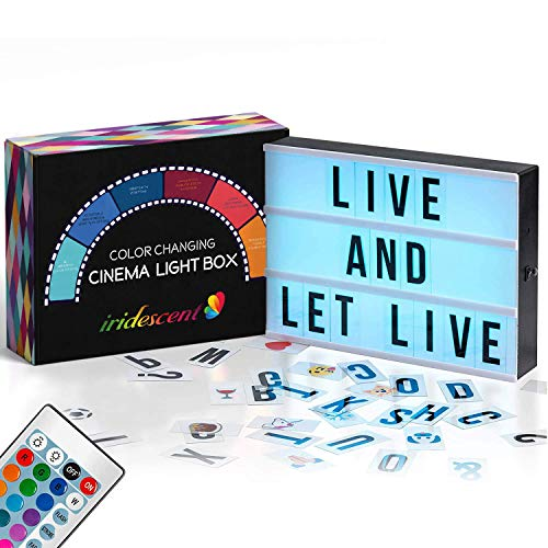 Color Changing Cinema Light Box with Letters - 244 Total Letters, Numbers & Emojis | 16 Colors Remote-controlled PREMIUM Cinematic Marquee Sign Light Box | NEW for 2020! LED Light Up Letter Box Sign