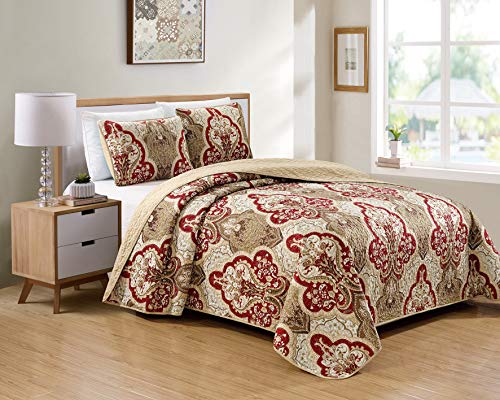 Better Home Style 3 Piece Luxury Lush Soft Taupe Burgundy Motif Ornamental Floral Printed Design Coverlet Bedspread Quilt Bed Cover Set # 3562 (Taupe, King/Cal-King)