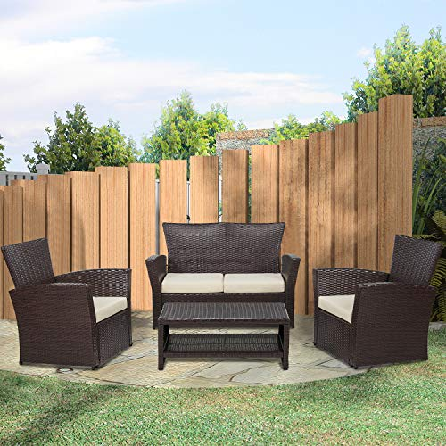 Laurel Canyon 4 Piece Patio Furniture Outdoor Wicker Rattan Sectional Sofa with Seat Cushions and Coffee Table, Loveseat Conversation Sets for Backyard Porch Poolside Balcony Garden, Dark Brown