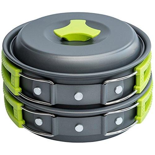 1 Liter Camping Cookware Mess Kit Backpacking Gear & Hiking Outdoors Bug Out Bag Cooking Equipment 10 Piece Cookset | Lightweight, Compact, Durable Pot Pan Bowls - Free Folding Spork, Nylon Bag