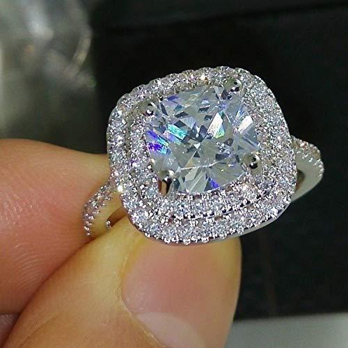 Metmejiao Fashion Ring Cushion Cut 4ct Zircon Diamonds Stone 925 Sterling Silver Engagement Wedding Band Ring for Women (6)