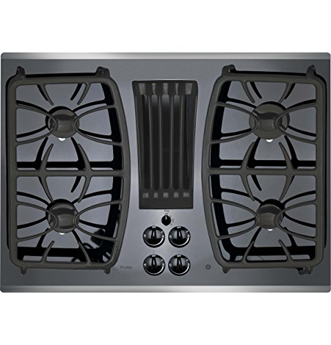 GE Profile 30' Gas Downdraft Black Glass Top Stainless Steel Trim PGP9830SJSS