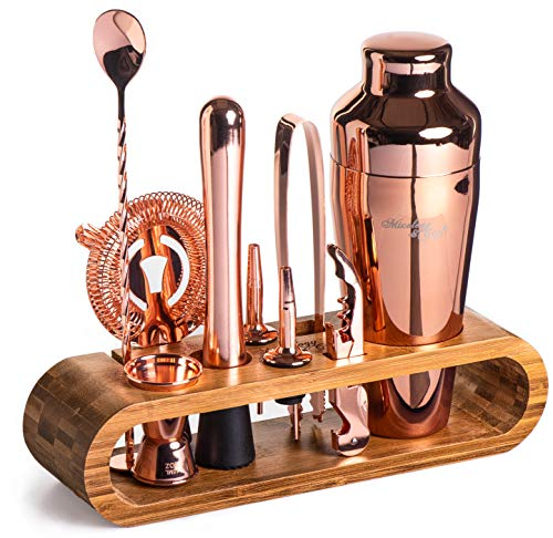 Mixology Bartender Kit: 10-Piece Bar Tool Set with Stylish Bamboo Stand | Perfect Home Bartending Kit and Martini Cocktail Shaker Set For an Awesome Drink Mixing Experience (Copper)