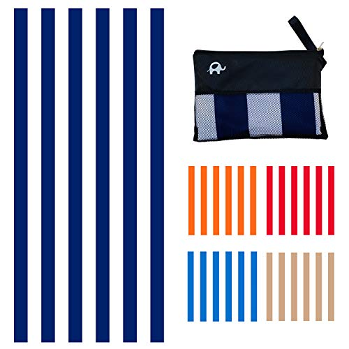 Elite Trend Microfiber Beach Towel for Travel - Oversized XL 78x35,72x72,63x31,71x31Inch Quick Drying, Lightweight, Fast Dry Towels, Sand Free (Cabana 1 Navy, Extra Large (78X35-INCH))