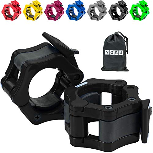 YOGU 2' Olympic Barbell Collars (Pair) Solid Nylon Locking Barbell Clamps with Quick Release Secure Snap Latch for Crossfit Squats Deadlifts Cleans Snatches (Black)