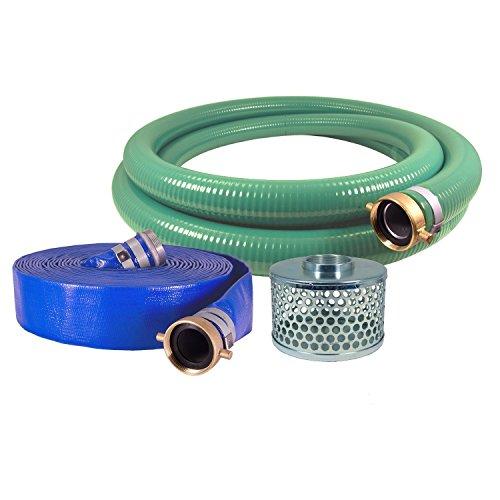 JGB Enterprises Eagle Hose PVC/Aluminum Water/Trash Pump Hose Kit, 3' Green Suction Hose Coupled M x F WS, 3' Blue Discharge Hose Coupled M x F WS, 29 Vacuum Rating, 70 PSI Maximum Temperature, 25' Length, 3 ID