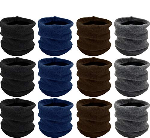 Winter Neck Gaiter, 12 Pack, Fleece Lined Interior Warm Cold Weather Scarf Wrap Gift, Mens or Womens Bulk (12 Pack Assorted Solids)