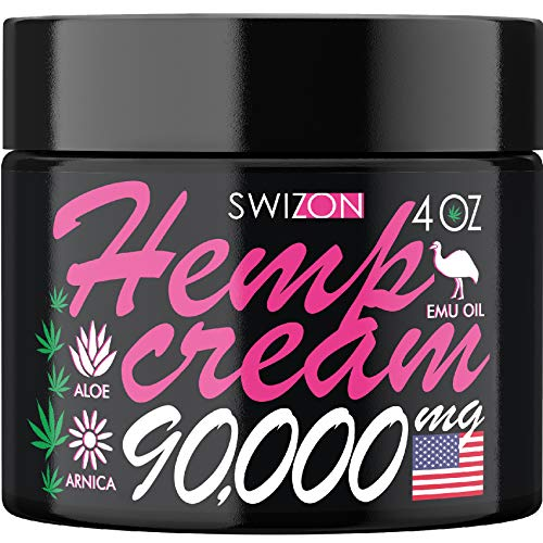 Natural Hemp Cream Intensive Pain Relief for Arthritis & Joint Inflammation - Made in The USA, 4 Oz