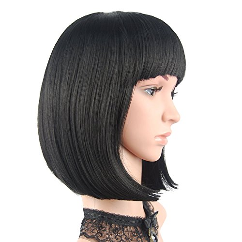 eNilecor Short Bob Hair Wigs 12' Straight with Flat Bangs Synthetic Colorful Cosplay Daily Party Wig for Women Natural As Real Hair+ Free Wig Cap (Black)
