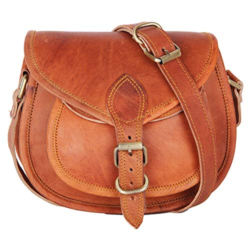 Women's Handmade Leather Saddlebag Purse - Smart Green Canvas Lining and Reinforced Hand-Stitching - 3 Compartments, 2 are Zippered - Crossbody Purse for Business and Pleasure - 7 x 9 x 3 Inches