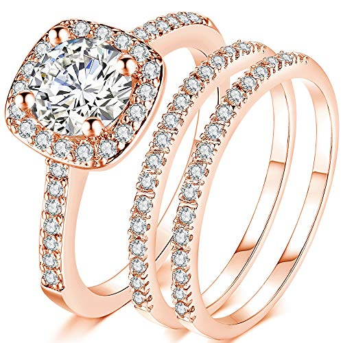 Jude Jewelers Silver Rose Gold Three-in-One Wedding Engagement Bridal Halo Ring Set (Rose Gold, 10)