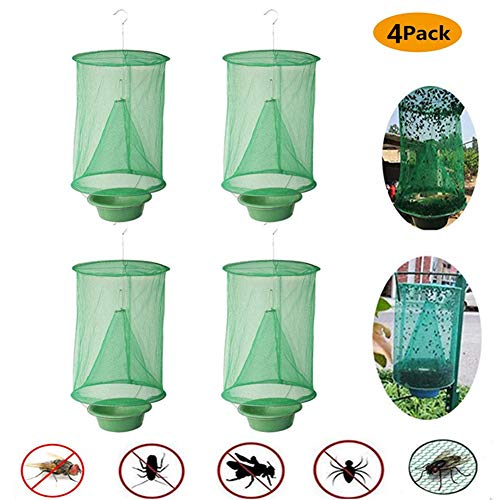 TeeBetter 2020 New Ranch Fly Trap Flycatcher Most Effective Trap Ever Made with Food Bait Flay Catcher for Indoor or Outdoor Family Farms, Park, Restaurants - 4 Pack