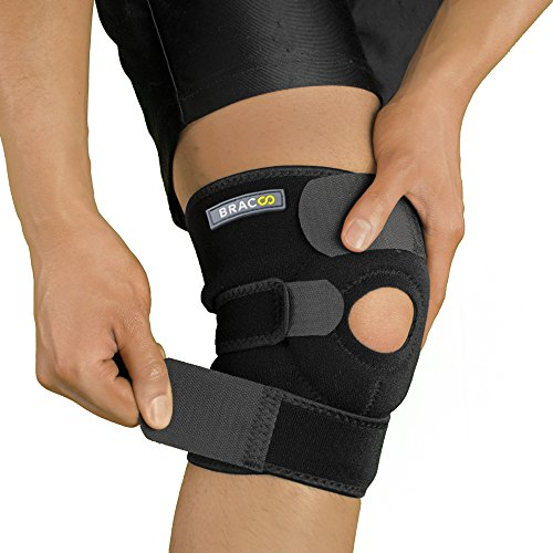 Bracoo Knee Support, Open-Patella Brace for Arthritis, Joint Pain Relief, Injury Recovery with Adjustable Strapping & Breathable Neoprene, KS10