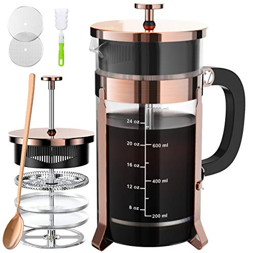 French Press Coffee And Tea Maker With 4 Level Filtration System -100% No Residue -304 Grade Stainless Steel-German Heat-Resistant Borosilicate Glass- BPA FREE-Dishwasherable-34ozCopper
