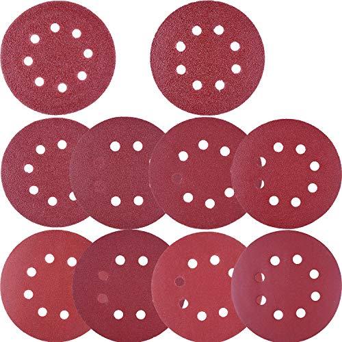 AUSTOR 100 Pcs Sanding Discs 5 Inch 8 Holes Hook and Loop 80/180/ 240/320/ 400/800/ 1000/1500/ 2000/3000 Grit Assorted for Random Orbital Sander