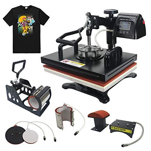 RoyalPress 12' x 15' Heat Press 5 in 1 Color LED Sublimation Heat Transfer 360-degree Rotation Professional Multifunction Combo Heat Press Machine Hat/Mug/Plate/Cap/T-Shirt Black (12'x15' 5 in 1)