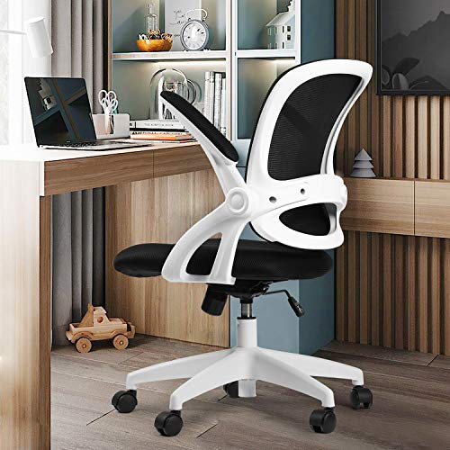 Comhoma Office Chair Ergonomic Desk Chair Mesh Computer Chair with Flip Up Armrest,Mid Back Task Home Office Chair,Swivel Chair with Smooth Casters,White&Black