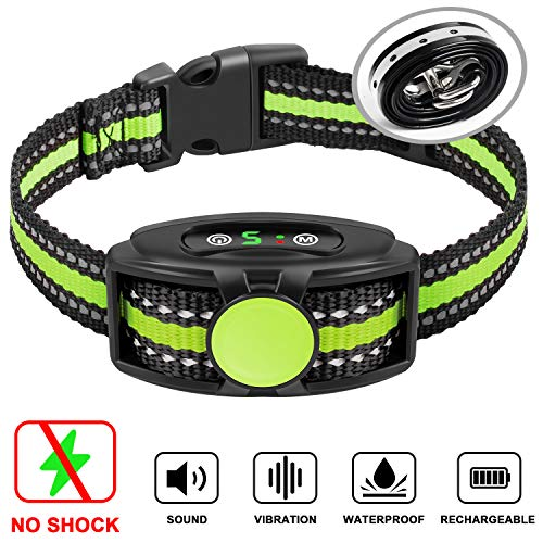 Bark Collar No Shock Bark Collar Rechargeable Bark Collar Shockless with Adjustable Sensitivity and Intensity Beep No Pain Vibration Barking Control Device Bark Collar for Small Medium Large Dogs