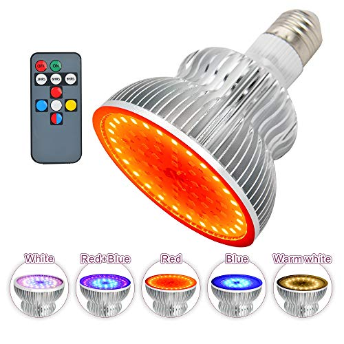 Growing Light Bulbs,MOWASS 50W LED Grow Light with Remote,Full Spectrum Plant Lamp for Indoor Plants,Timer Setting,No Noise,Good Heat Dissipation for All Growth Periods Plants (E26/E27,64LEDs)