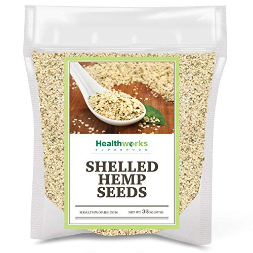 Healthworks Shelled Hemp Seeds Canadian (32 Ounces / 2 Pound) | Pesticide-Free, Premium & All-Natural | Contains Omega 3 & 6, Fiber and Protein | Great with Shakes, Smoothies & Oatmeal