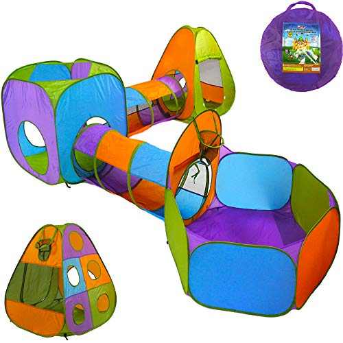 Playz 5-Piece Kids Pop up Play Tent Crawl Tunnel and Ball Pit with Basketball Hoop Playhouse for Boys, Girls, Babies, and Toddlers (Purple, Orange, Yellow, Red, Blue)