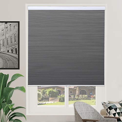 Window Blackout Blinds Room Darkening Shade Cellular Shades for Bedroom, Black Out 99% Light & UV, Thermal, Cordless and Easy to Pull Down & Up, 27 inch x 64 inch Drop, Gray White