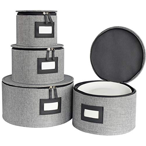 China Storage Box Set for Dinnerware,Dishes Storage Containers for Saucers, Dinner and Salad Plates Protects,Hard Shell and Stackable with Lable Window,48Pcs Felt Plate Dividers Included,Set of 4-Grey