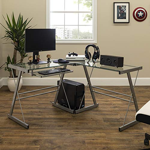 Walker Edison Furniture Company Modern Corner L Shaped Glass Computer Writing Gaming Gamer Command Center Workstation Desk Home Office, 51 Inch, Silver