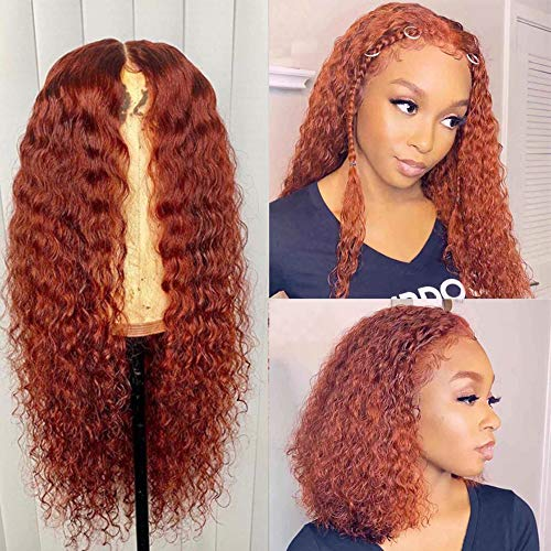 XSZM Warm Orange Red Curly 360 Lace Front Wigs Human Hair Pre Plucked With Baby Hair 150% Density Glueless Brazilian Virgin Hair Legendary Colored Kinky Curly Lace Wig for Black Women(12 Inch)
