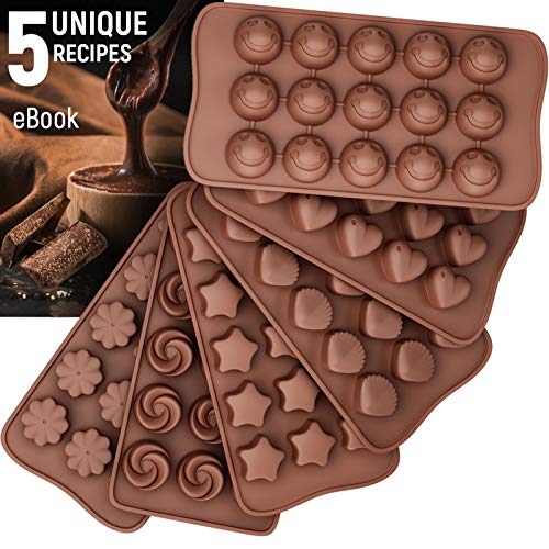 Silicone Candy Molds + 5 Recipes eBook - Easy to Use & Clean Chocolate Molds - Silicone Molds For Fat Bombs - 6 Pack