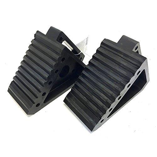 MaxxHaul 2 pack 70472 Solid Rubber Heavy Duty Black Wheel Chock, 8' Long x 4' Wide x 6' high-2 Pack, 2 pack