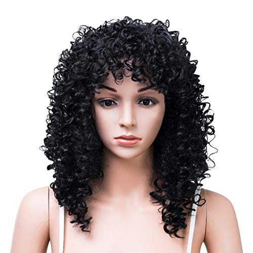 SHICHUAN Ladies Wig 16 inch Fashion Africa Lady Realistic Natural Short Curly Wigs for Black Women Heat Resistant Synthetic Fiber Wig Cap for Party Cosplay Use