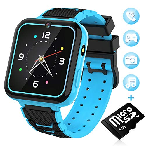 "Kids Smart Watch for Boys Girls-[SD Card Included] 1.57"" HD Touch Screen with 7 Games Music Player Alarm Clock Record Calculator Camera Flashlight for Children Toy Birthday Gift (Blue)"