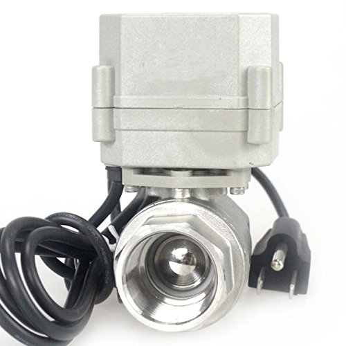 HSH-Flo 1' DN25 110-230VAC Normally Closed CF8/Stainless Steel 304 Motorized Electrical Ball Valve with U.S. Plug (1 Inch, Normally Closed)