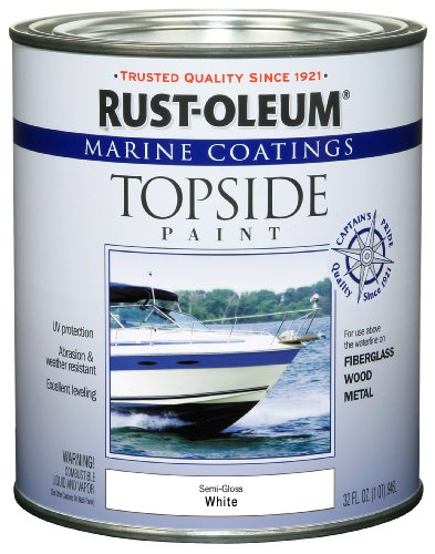 Rust-Oleum 207000 Marine Coatings Topside Paint, Quart, Semi-Gloss White